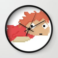 ponyo Wall Clocks featuring Ponyo ポニョ in pixels by Nohm