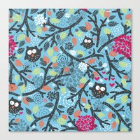 owls Canvas Prints featuring Owls. by panova