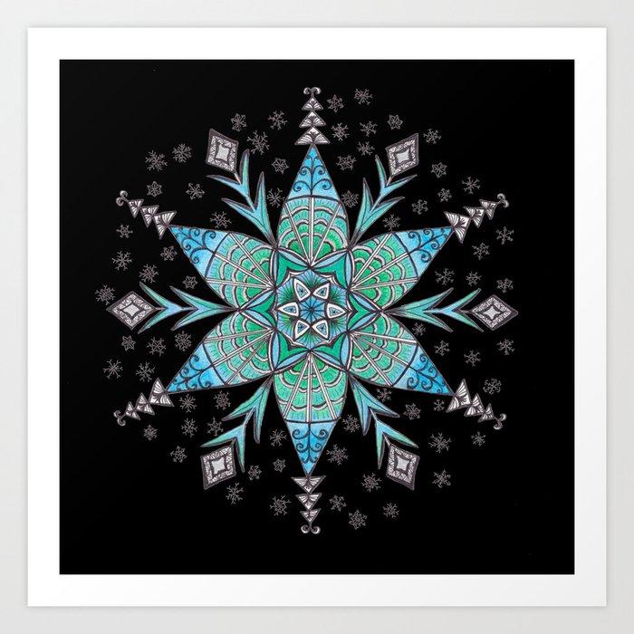 Snowflake Mandala (on black) Art Print