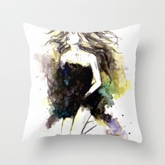 Watercolor Girl Throw Pillow