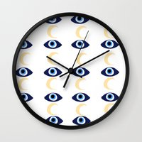 evil eye Wall Clocks featuring evil eye by sabrina