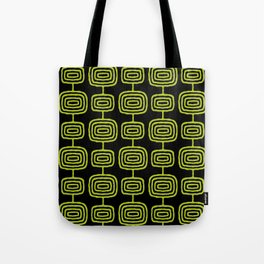 Mid Century Modern Atomic Rings Pattern Black and Chartreuse Tote Bag