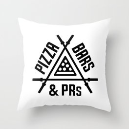 Pizza, Bars and PRs Fitness Triangle v2 Throw Pillow