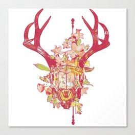 Floral deer skull print Canvas Print