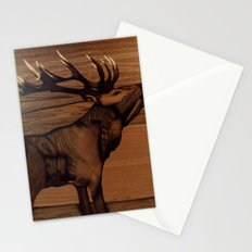 original deer animal marquetry of wood Stationery Cards