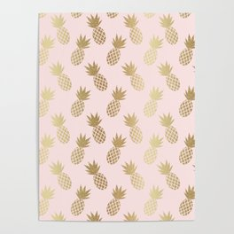 Pink & Gold Pineapples Poster