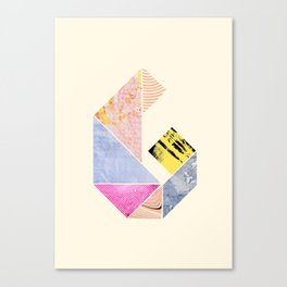 Collaged Tangram Alphabet - G Canvas Print