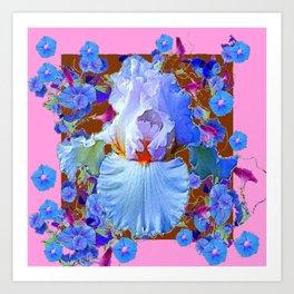 PASTEL IRIS & BLUE MORNING GLORIES PINK PATTERNS Art Print