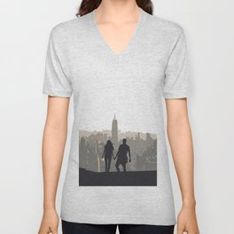 The Couple Overlooking the New York City Skyline and the Empire State Building Unisex V-Neck