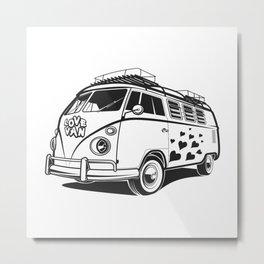 Love van wv 60s hippie surf Metal Print