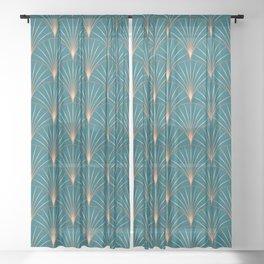 Vintage Art Deco Floral Copper & Teal Sheer Curtain