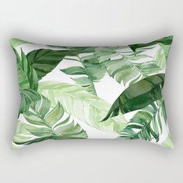 Green leaf watercolor pattern Rectangular Pillow