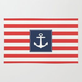 Anchor on red and white stripes Rug