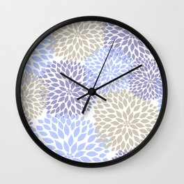 Periwinkle Floral Bouquet Wall Clock