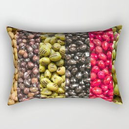 Close-Up Of Different Types Of Greek Olives Rectangular Pillow