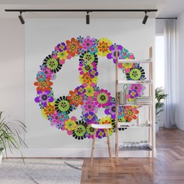 Peace Sign of Flowers Wall Mural