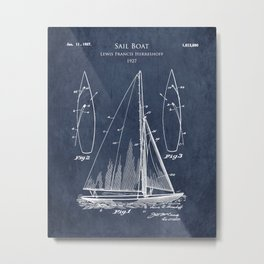 1920s Sailboat Blueprint Metal Print