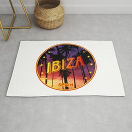 Ibiza, summer sunset, circle Rug