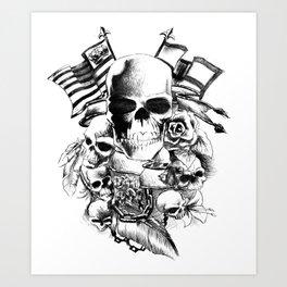 Skulls flags and flowers Art Print