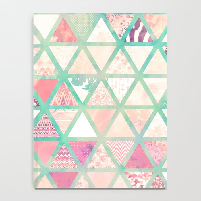 Pink Turquoise Abstract Floral Triangles Patchwork Notebook