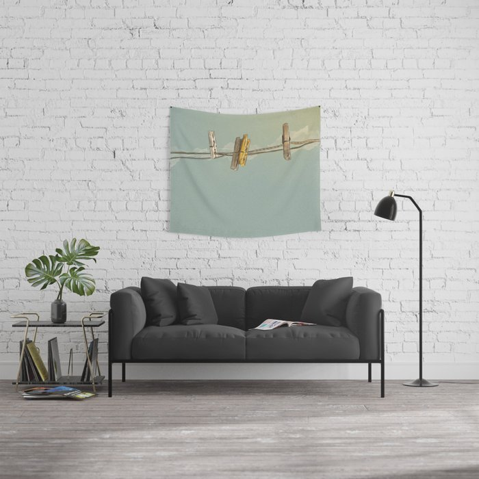 Vintage Clothespin Wall Tapestry