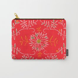 Bight Salmon/Reddish Foral, Oxford Brazil Pattern Carry-All Pouch