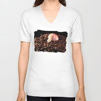 cafe V-neck T-shirts featuring BROWN CAFE by Karl-Heinz Lüpke