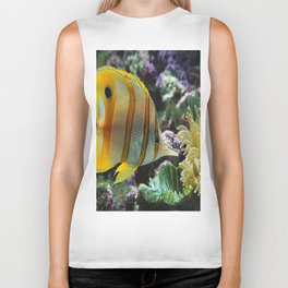 Yellow Longnose Butterfly Fish Biker Tank