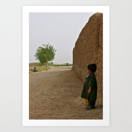 Afghan child looking on the present, hoping for the future Art Print