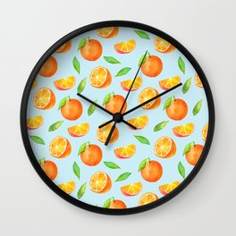 Watercolor Oranges Pattern 3 Wall Clock