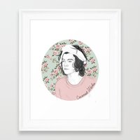 coconutwishes Framed Art Prints featuring H circle floral  by Coconut Wishes