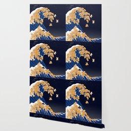 Shiba Inu The Great Wave in Night Wallpaper