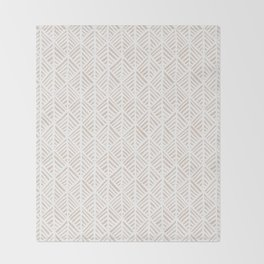 Abstract Leaf Pattern in Tan Throw Blanket