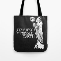 lotr Tote Bags featuring stairway to middle-earth by jerbing
