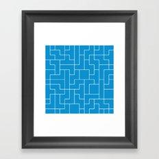 White Tetris Pattern on Blue Framed Art Print