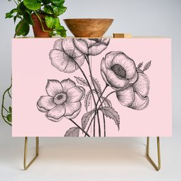 Palid Flowers  Credenza