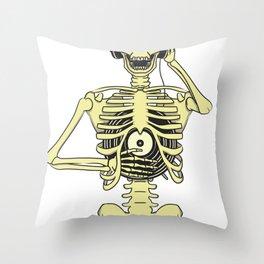 Skeletal Sound System Throw Pillow