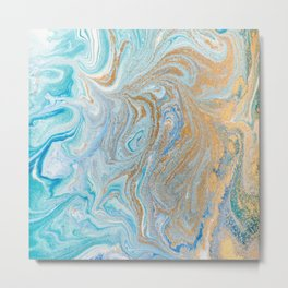 Marble turquoise gold silver Metal Print