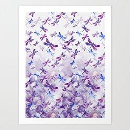 Dragonfly Lullaby in Pantone Ultraviolet Purple Art Print