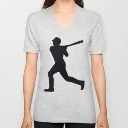 Baseball Player Silhouette - Pattern - Black Unisex V-Neck