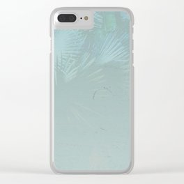 Faded Blue Palms Clear iPhone Case