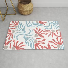 Shabby Abstract Tropical Flowers in Red Blue Beige Rug