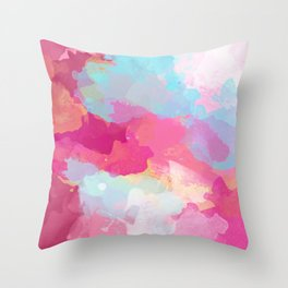 Colorful Abstract - pink and blue pattern Throw Pillow