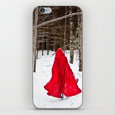 Little Red Riding Hood Runs Through The Woods In Winter iPhone & iPod Skin