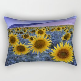 Sunflowers At Blue Hour . Square Rectangular Pillow