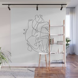 one line heart Wall Mural