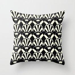 Art Deco Fans 1.3 Black Background Silver & Cream Throw Pillow