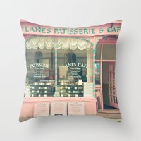 cafe Throw Pillows featuring Sweet Cafe by Cassia Beck