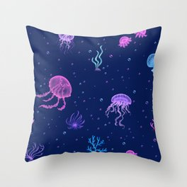 Jellyfish Bubble Sea Throw Pillow