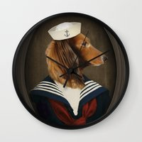 charli xcx Wall Clocks featuring Doxie Dachshund Art - Sailor Charli by The Lonely Pixel